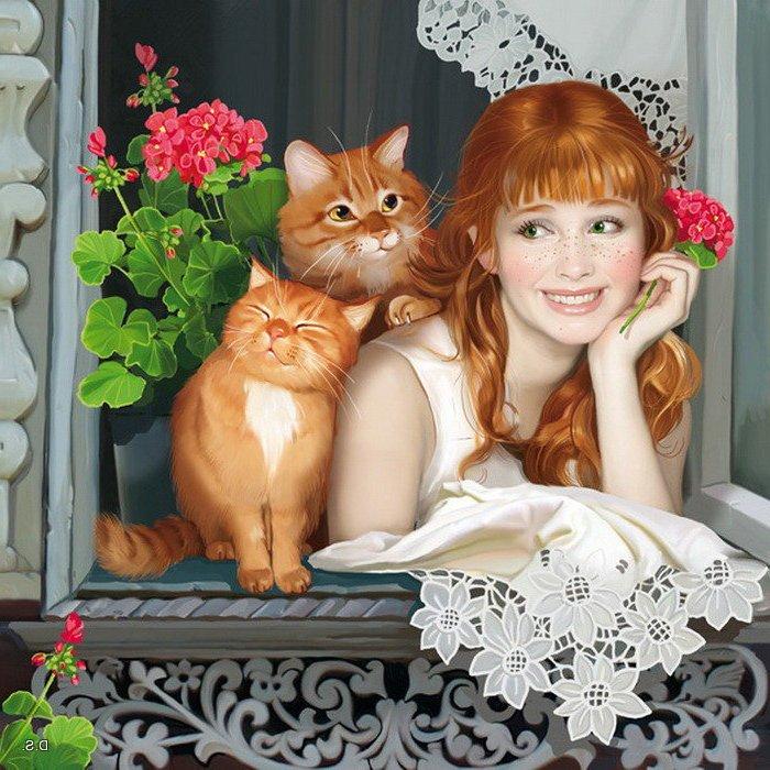 Герань и кошка на окне